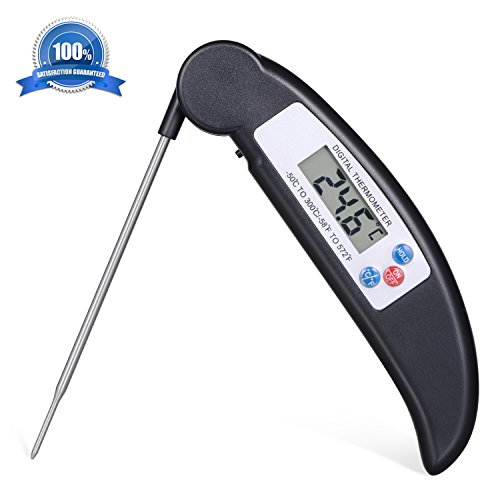 Atill Best Digital Thermometer with Long Probe for All Food, Cooking Meat, BBQ, Smoker, Kitchen, Turkey and Milk - Ultra Accurate Instant Read & LED Screen, One Year Warranty (Black) (Fryer Phone compare prices)