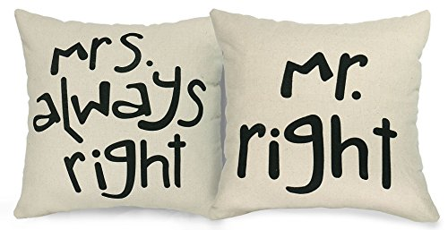 2x Luxbon Leinen Kissenbezug Kissen Fall Sofa Taille Throw Cover Pillowcase Huelle Couch Stuhl Auto Haus Deko Mr. Right & Mrs. always right 45 x 45 cm