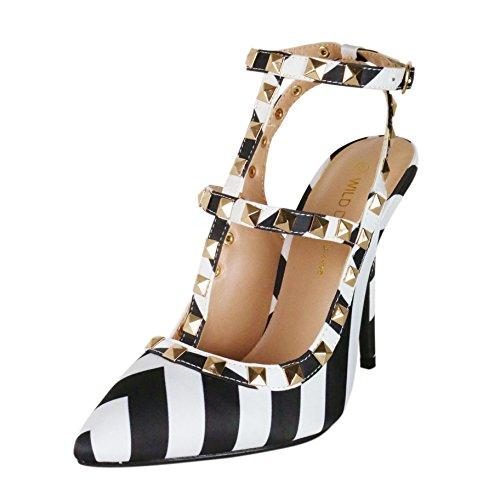 Wild Diva Women'S Adora63B Black/White Studded Ankle T-Strap Stiletto Pump Size 6.0 M Us