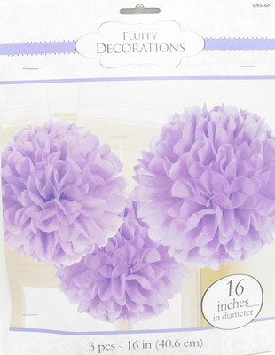 "Amscan Fun Fluffy Scroll Tissue Decoration (3 Piece), 16"", Lilac"