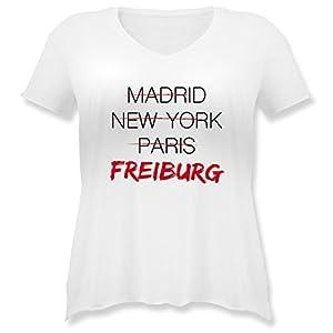 Städte - Weltstadt Freiburg - Weit geschnittenes Damen Shirt in großen Größen mit V-Ausschnitt