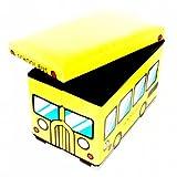 HitPlay CardBoard School Bus Storage Box - (Yellow)