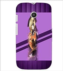 PrintDhaba Cute Girl D-3039 Back Case Cover for MOTOROLA MOTO E (Multi-Coloured)