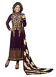 Khoobee Presents Embroidered Georgette Dress Material (Wine)
