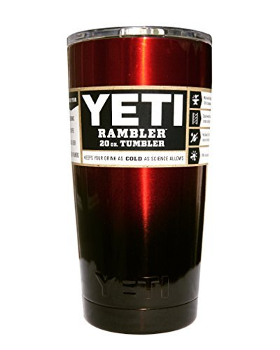 Yeti Coolers Custom Stainless Steel 20 oz Rambler Tumbler with Lid (Red Black Ombre Fade)
