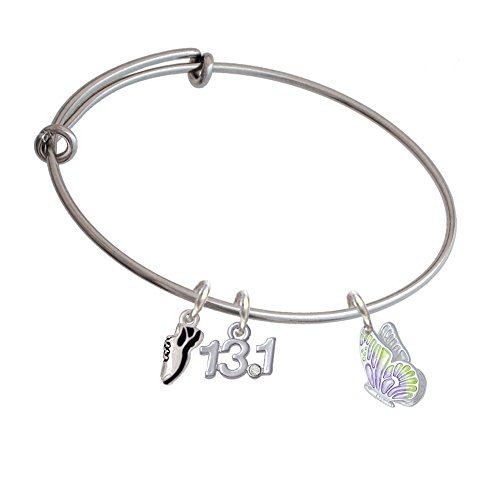 Translucent Purple & Lime Green Flying Butterfly Running Shoe And 13.1 Expandable Bangle Bracelet