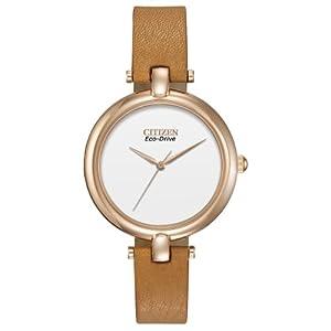 Citizen Women's EM0253-03A Silhouette Straps Analog Display Japanese Quartz Brown Watch