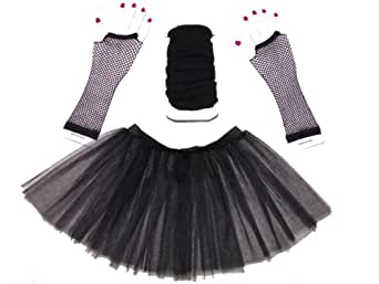 Just 4 Fun Leisurewear Black 3 Layer Tutu Set, Leg Warmer & Fishnet Gloves Size 8 To 16