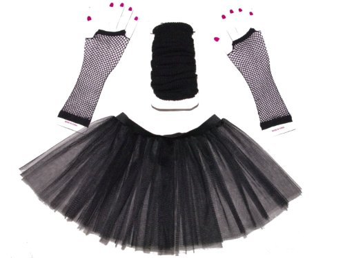Black 3 Layer Tutu Set, Leg Warmer & Fishnet Gloves Size 8 To 16