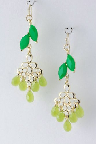 Contempo Couture Jewel Dangle Earrings (Lt Green)