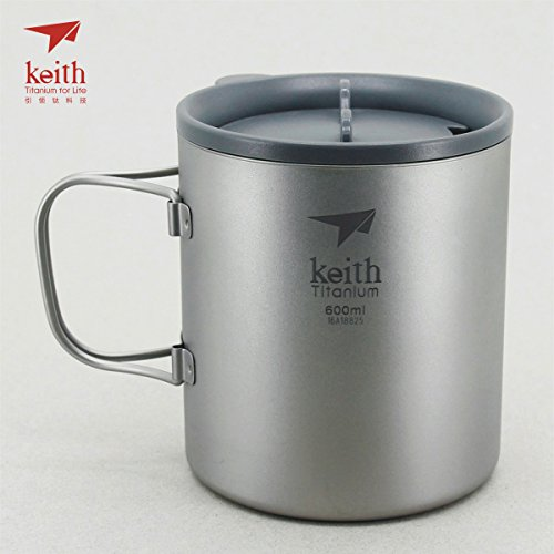 Keith Titanium Double-Wall Mug with Folding Handle and Lid - 20.3 fl oz (Titanium Single Wall Cup compare prices)