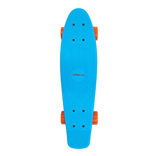 Apollo Fancy Board - Vintage Cruiser Complet Board | Tamaño: 22.5'' (57,15 cm) | Color: azul / naranja | el pequeño manejable Skateboard