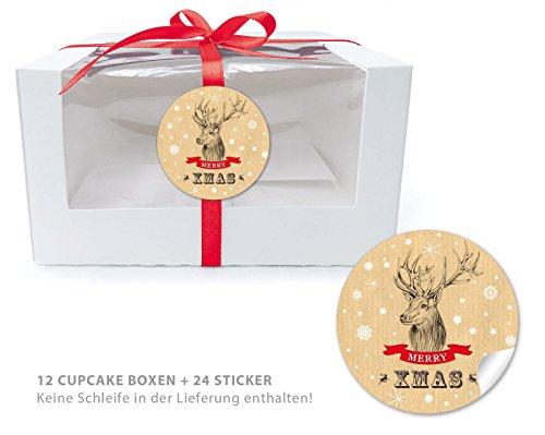 12-CUPCAKE-PATISSERIE-BIO-BOXEN-24-AUFKLEBER-12-Geschenk-Boxen-mit-Sichtfenster-Muffin-Box-Gift-Box-Schachtel-Aufbewahrungsbox-und-24-Aufkleber-WEIHNACHTSHIRSCH-NATUR-im-Retro-Vintage-Look--Optimal-fr