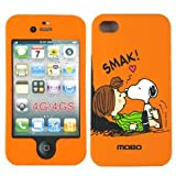 iPhone 4S / 4 Snoopy and Peppermint Patty from Charlie Brown Peanuts on Orange Protector Snap on Case - Includes TWO Bonus Personal Charm Straps