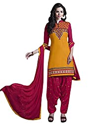 Zombom Red Cotton Embroidered Salwar Kameez Dress Material