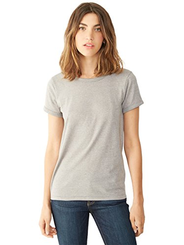 Alternative Womens Ideal Ringer Eco-Mock Twist T-Shirt Large Eco Mock Nickel