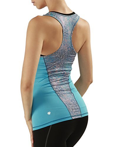 Yoga Reflex Women's Activewear Printed Knit Racerback Sports Tank Tops , Abysstealpink , Small