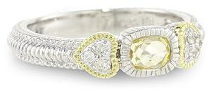 "Judith Ripka ""Ambrosia"" Ambrosia Stack Canary Cushion Ring, Size 7"