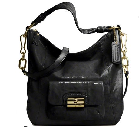 Coach Kristin Patent Leather Shoulder Hobo Bag Purse Tote Black