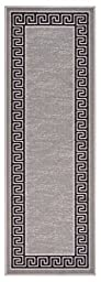 Meander Design Printed Slip Resistant Rubber Back Latex Runner Rug and Area Rugs 5 Color Options Available (Grey, 1\'8\