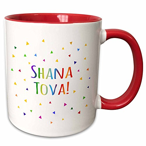 InspirationzStore Judaica - Shana tova - Rosh Hashanah greeting for a Happy Jewish New Year - 11oz Two-Tone Red Mug (mug_202092_5)