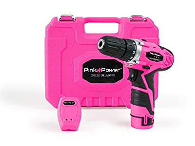 Pink Power PP121LI 12V Cordless Lithium-Ion Drill & Driver Kit for Women- Tool Case, Drill Set, Battery & Charger