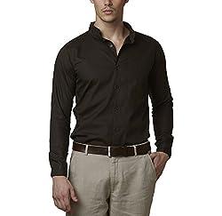 Lisova Men's Formal Shirt (LI/SHRT/089_Dark Green_Small)