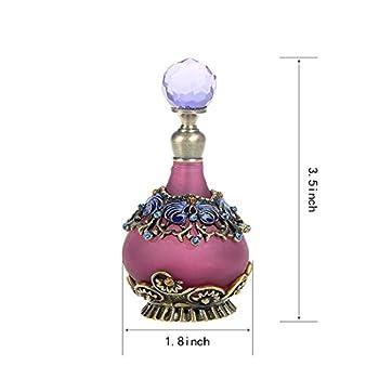 H&D 25ml Purple Vintage Refillable Crystal Decor Perfume Bottle