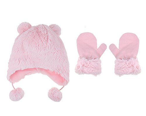 Capelli New York Baby Girl's Hat and Mitten Faux Bunny Fur 2 pc Set