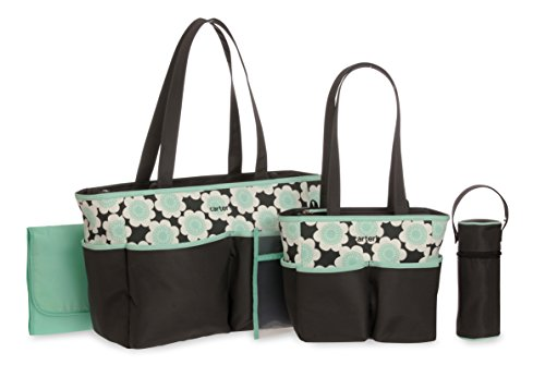 Carter's Floral Print Diaper Bag Set, Grey/Mint, 5 Count - 1