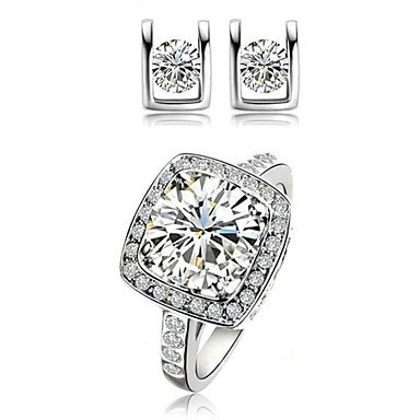 18K White/Rose Gold Plated Crystal Simulated Diamond Earrings Ring Sets