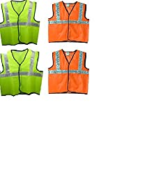 Brite Eye Reflective Safety Orange & Green Polyster Jacket (Combo of 4)