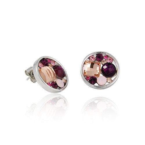Small Round Silver Purple Stone Earrings Fashion Jewelry