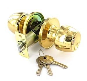 Entrance Door Knob Lock Set - Brass