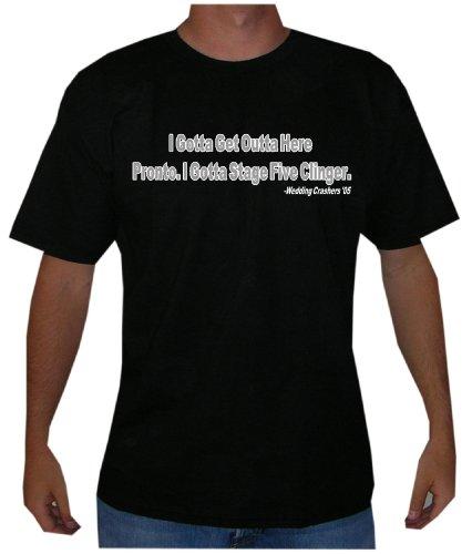 "Wedding Crashers ""Stage Five Clinger"" Mens Funny Movie Line T Shirt (X-Large, Black)"