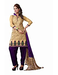 AASRI Party Wear Cotton Embroidered 3 Piece Unstitched Salwar Suit 6020