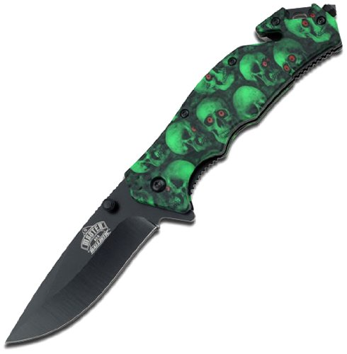 Master USA MU-A001GNSC Spring Assist Folding Knife, Black Blade, Green Skull Camo Handle, 4-1/2-Inch Closed