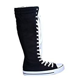 Canvas Sneakers Ladies Flat Tall Punk Womens Skate Shoes Lace up Knee High Boots (9, black/white_WL) [Apparel]