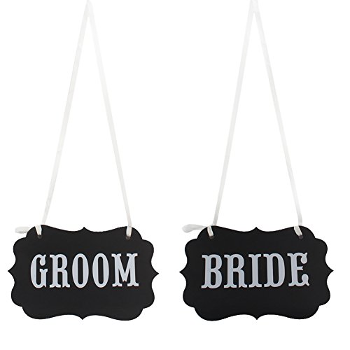 OurWarm BRIDE&GROOM Letters Wedding Decoration Chair Signs Decoration Present Photography Props Black,BRIDE&GROOM,1 Set
