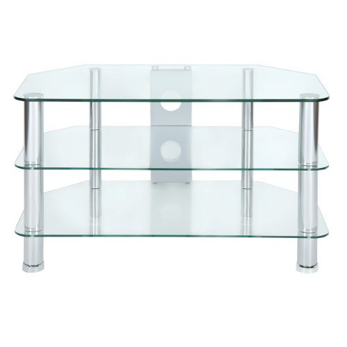 Levv Clear Glass TV Stand with Chrome Legs for Upto 37 inch LCD Plasma Screens Black Friday & Cyber Monday 2014