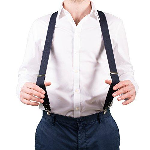 Bretelle da Uomo per Pantaloni di Fattura Superiore, Forma a Y con Clip Resistenti e Passanti per Cintura (blu notte)
