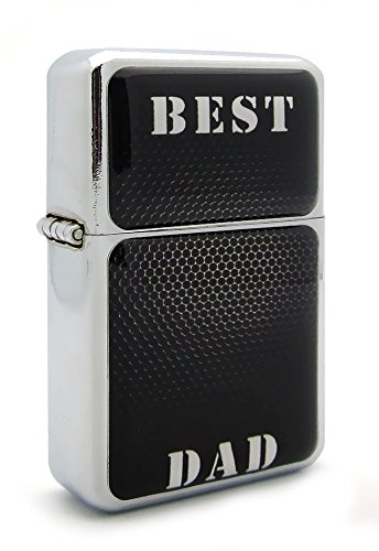 Black Pattern Best Dad Fathers Day Flip Top Refillable Aluminum Pocket Oil Petrol Lighter
