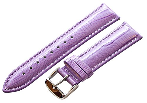 16Mm 2 Piece Ss Leather Lizard Grain Lilac Purple Interchangeable Replacement Watch Band Strap