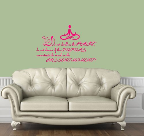 Housewares Vinyl Decal Yoga Buddha Quote Past Present Future Moment Home Wall Art Decor Removable Stylish Sticker Mural Unique Design for Any Room