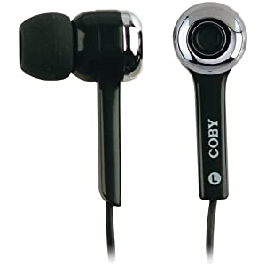 Coby CVE91BLK Isolation Stereo Earphones with Volume Control, Black (Discontinued by Manufacturer)