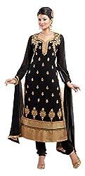 Fstore Black Embroidered Georgette Semistitched Salwar suit