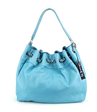 IO Pelle Italian Made Light Blue Leather Drawstring Hobo Shoulder Bag Purse