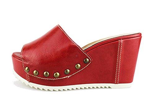 JEANNOT sandali donna 39 EU rosso pelle AG437