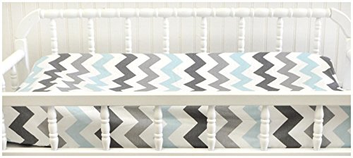 My Baby Sam Chevron Baby in Aqua Changing Pad Cover- Aqua