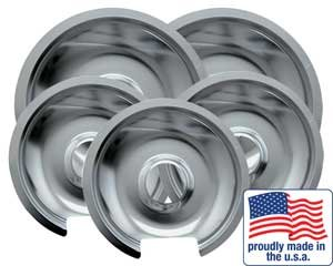 "Range kleen Drip Pan Chrome 3 Small / 6"" And 2 Large / 8"", 5 Pk"